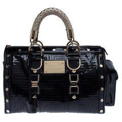 Versace Black Quilted Patent Leather Snap Out Of It Satchel