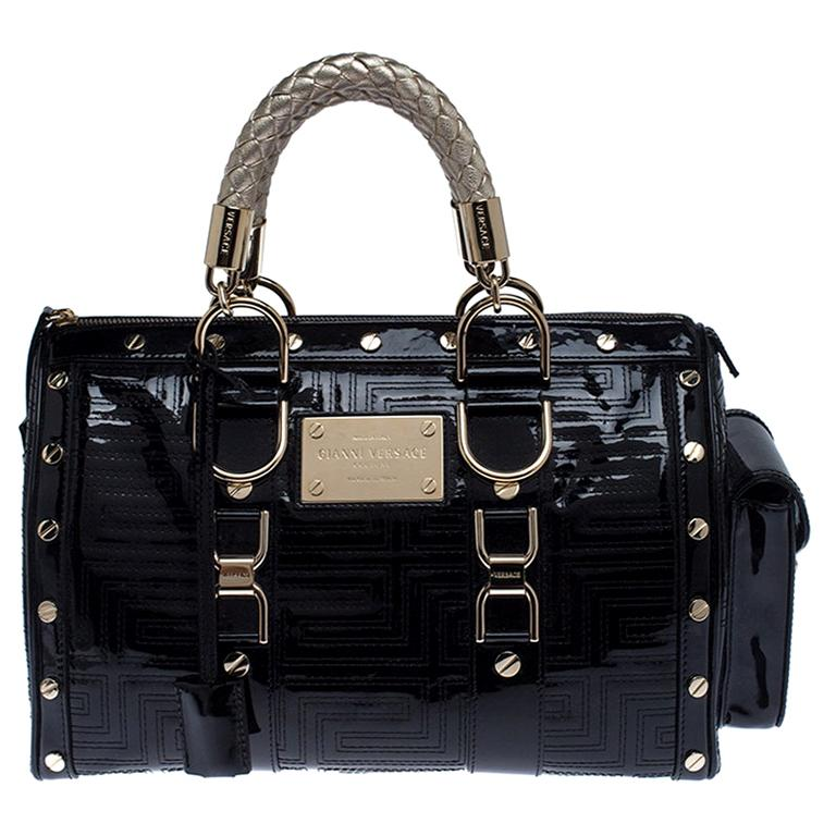 Versace Black Quilted Patent Leather Snap Out Of It Satchel For Sale
