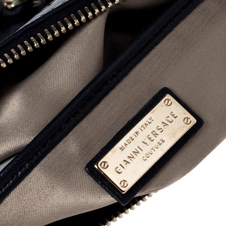 Versace Black Quilted Zip Clutch For Sale 6