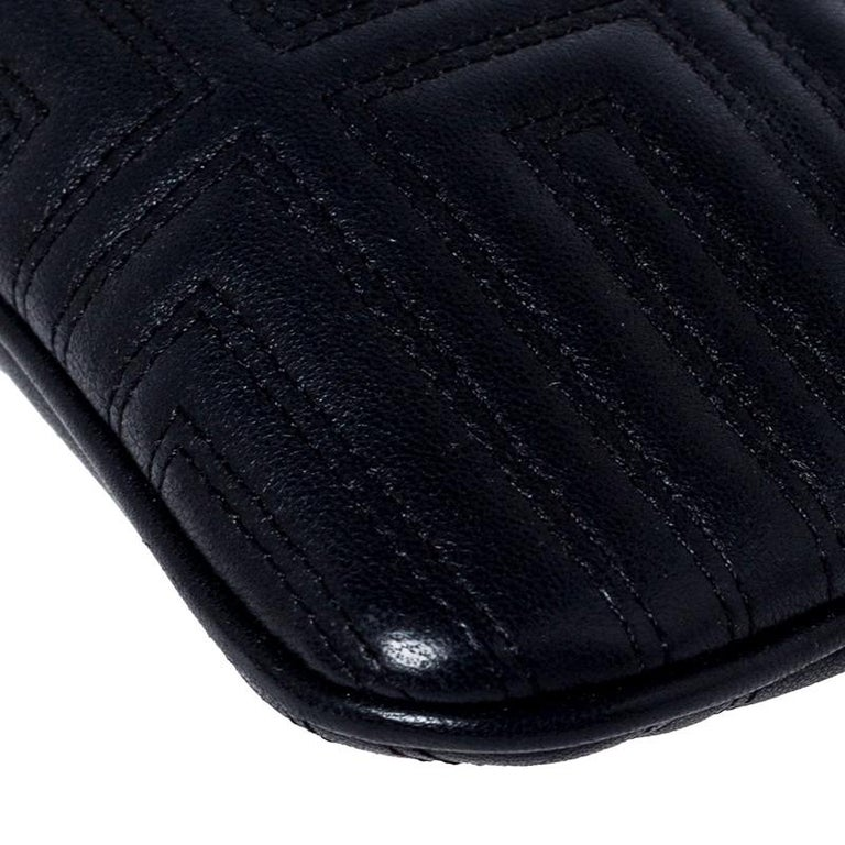 Versace Black Quilted Zip Clutch For Sale 7