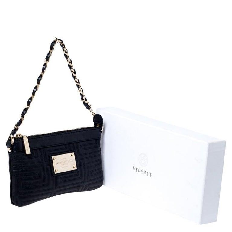 Versace Black Quilted Zip Clutch For Sale 8