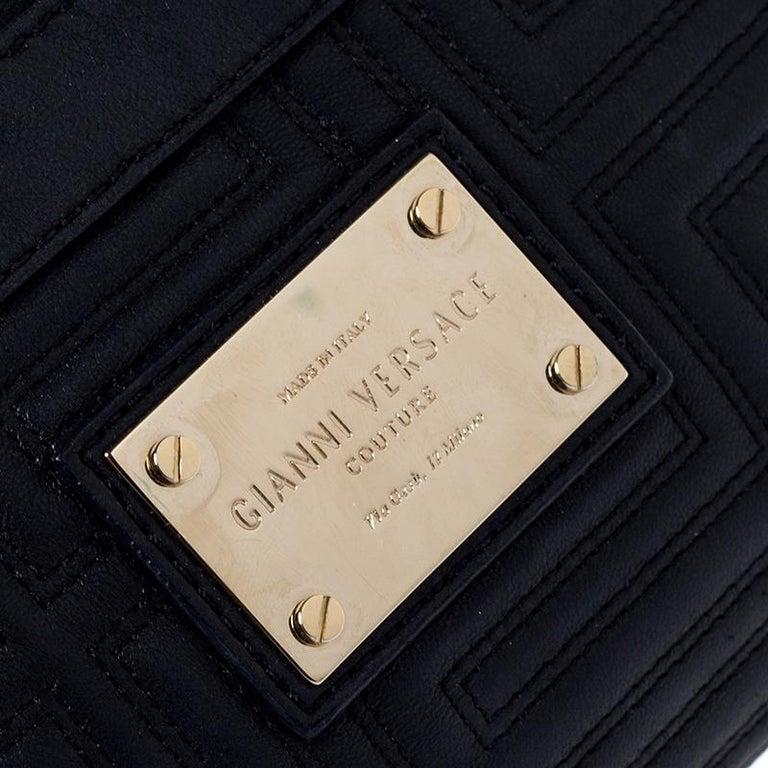 Versace Black Quilted Zip Clutch For Sale 3