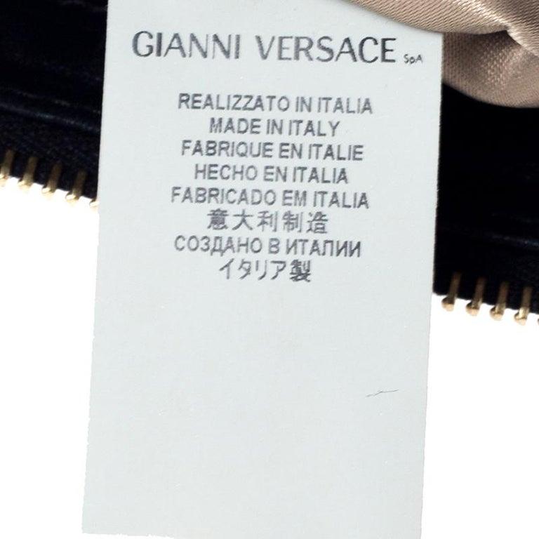 Versace Black Quilted Zip Clutch For Sale 4