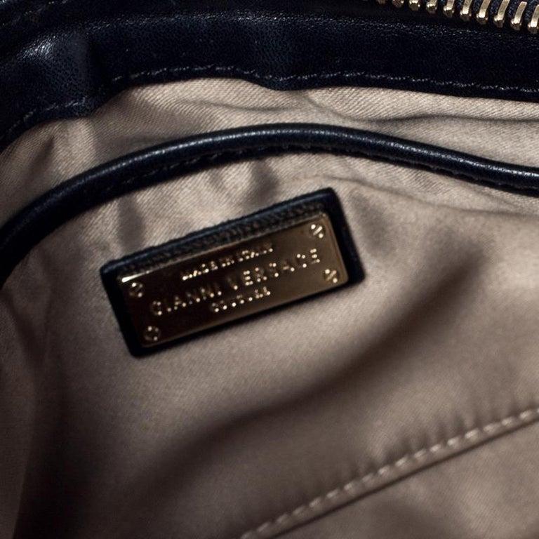 Versace Black Quilted Zip Clutch For Sale 5