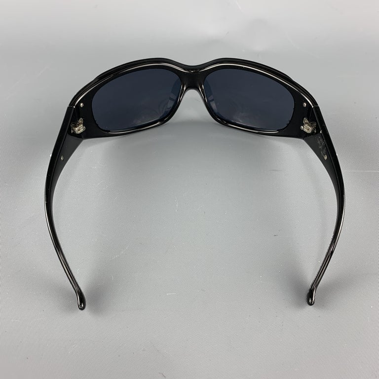 VERSACE Black & Red Coral Reef Sheild Sunglasses For Sale 3