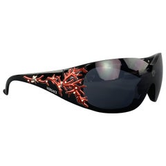 VERSACE Black & Red Coral Reef Sheild Sunglasses