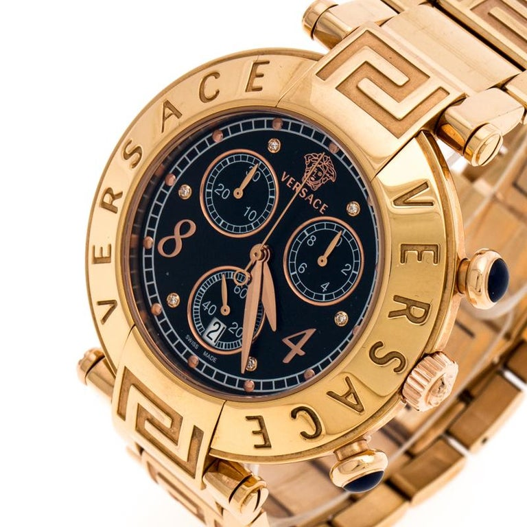 Pamper yourself with this gorgeous gold-plated steel Versace Aion watch featuring quartz movement with chronograph and date complication. Gorgeous and stylish with an engraved bezel, the watch features a black dial, 50 meters of water resistance and
