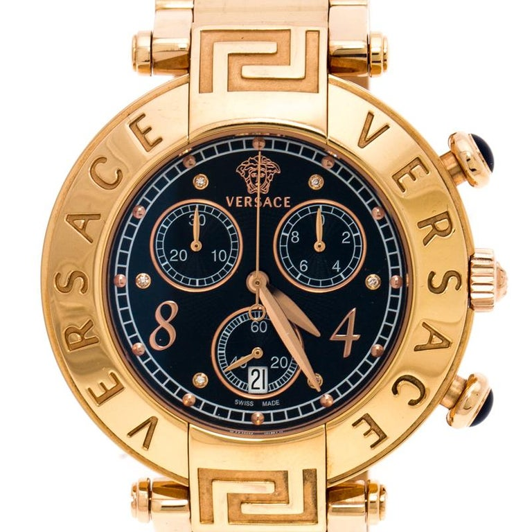 Contemporary Versace Black Rose Gold Plated Steel Aion 68C Women's Wristwatch 40 mm For Sale