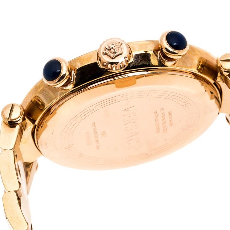 Versace Black Rose Gold Plated Steel Aion 68C Women's Wristwatch 40 mm In Good Condition For Sale In Dubai, Al Qouz 2