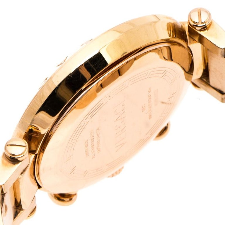 Versace Black Rose Gold Plated Steel Aion 68C Women's Wristwatch 40 mm For Sale 1