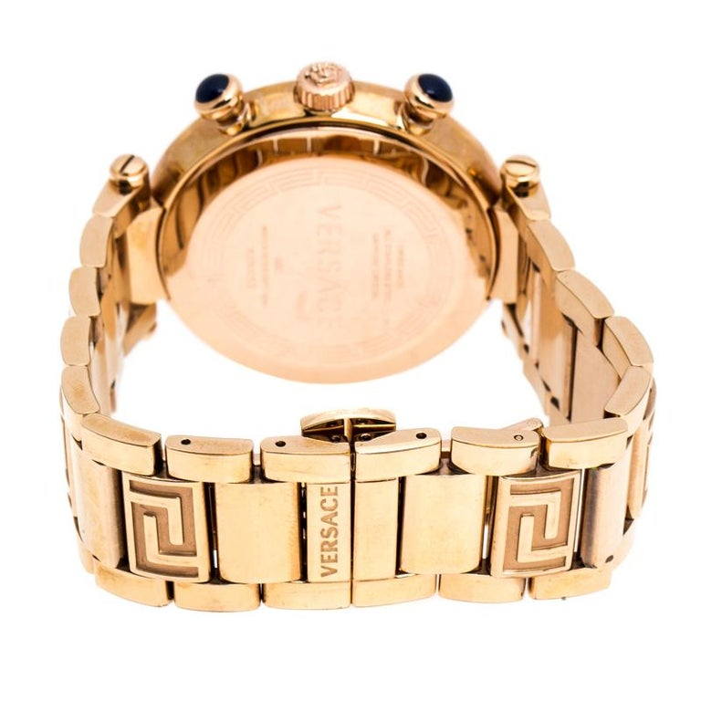 Versace Black Rose Gold Plated Steel Aion 68C Women's Wristwatch 40 mm For Sale 3