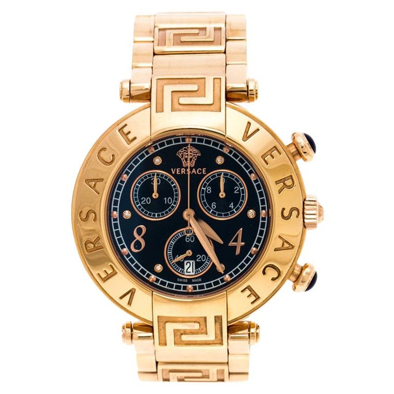 Versace Black Rose Gold Plated Steel Aion 68C Women's Wristwatch 40 mm For Sale