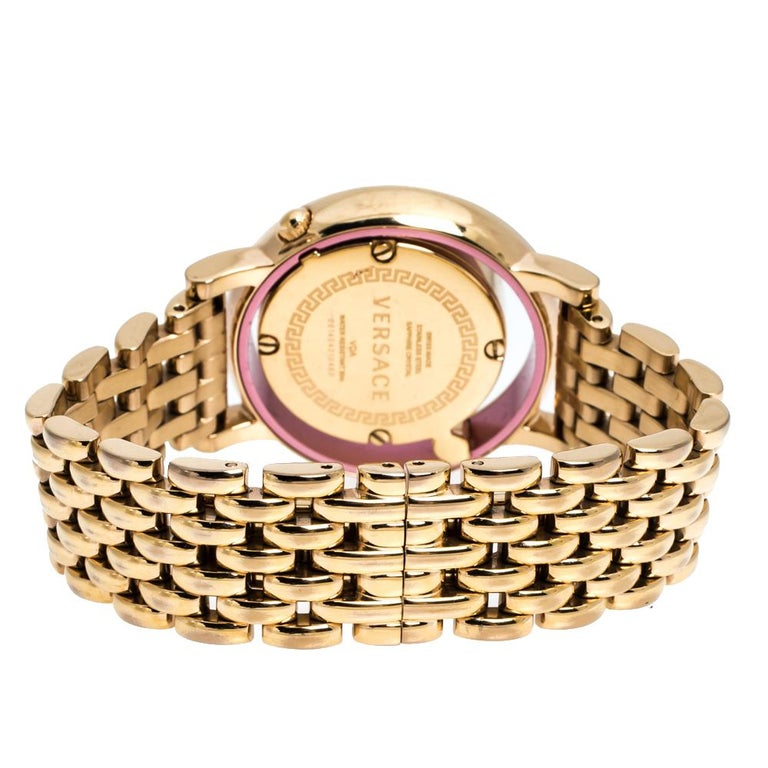 This beautiful timepiece from the house of Versace is sure to be a conversation starter with its eclectic and eye-catching design. Constructed in rose gold-plated stainless steel, this Venus watch features a transparent panel on the case which holds