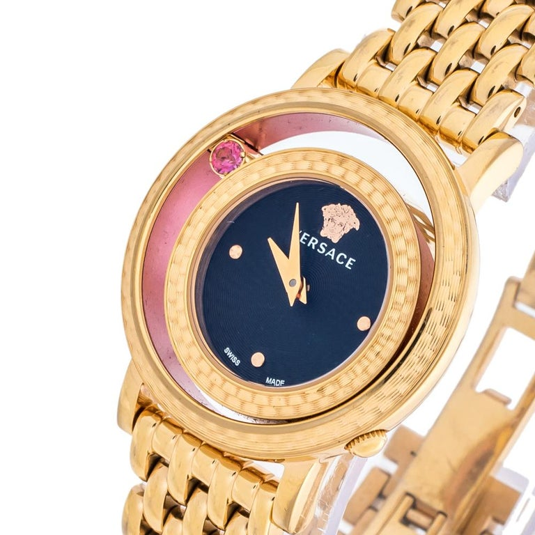 Contemporary Versace Black Rose Gold Plated Venus VDA040014 Women's Wristwatch 33 mm For Sale