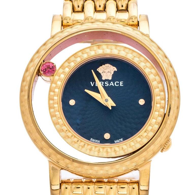 Versace Black Rose Gold Plated Venus VDA040014 Women's Wristwatch 33 mm In Good Condition For Sale In Dubai, Al Qouz 2