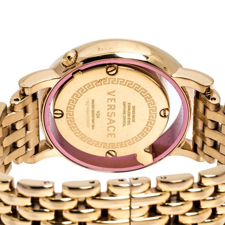 Versace Black Rose Gold Plated Venus VDA040014 Women's Wristwatch 33 mm For Sale 1