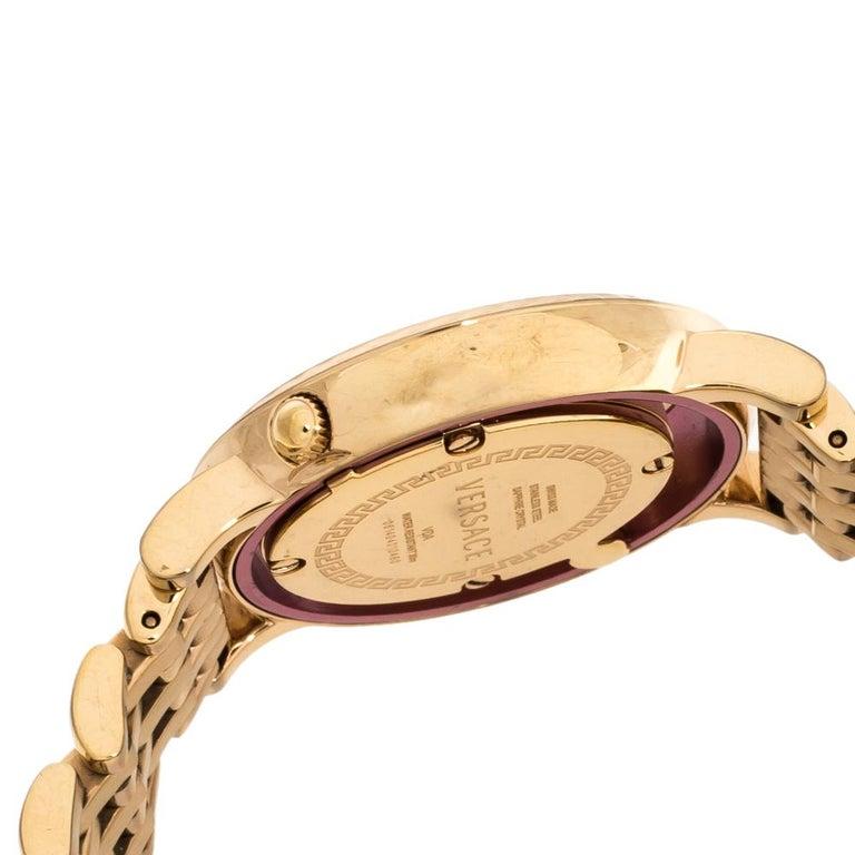 Versace Black Rose Gold Plated Venus VDA040014 Women's Wristwatch 33 mm For Sale 2
