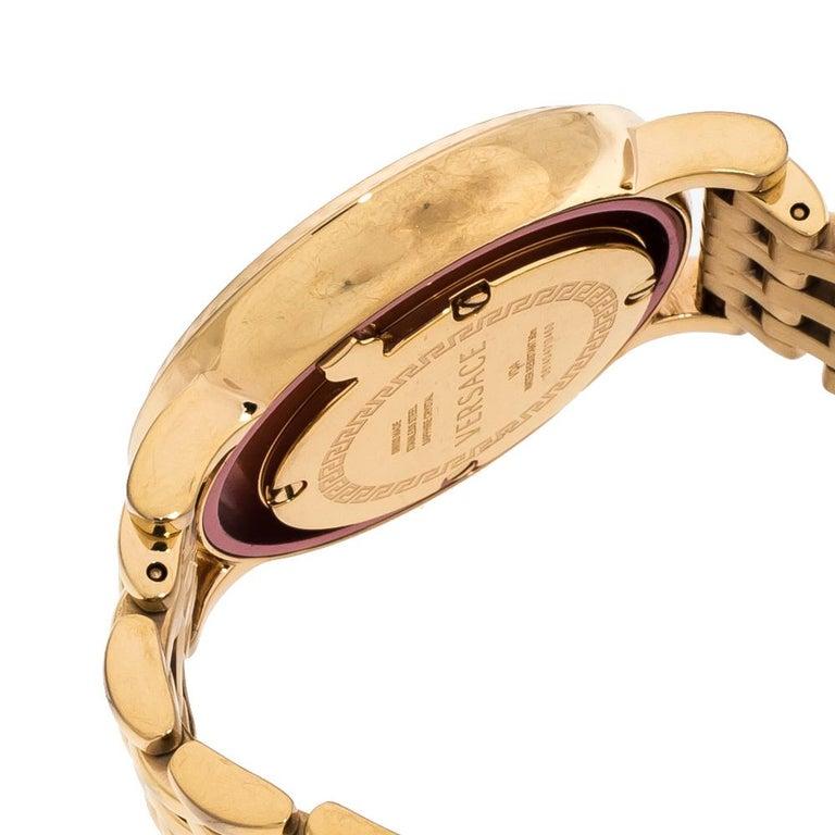 Versace Black Rose Gold Plated Venus VDA040014 Women's Wristwatch 33 mm For Sale 3