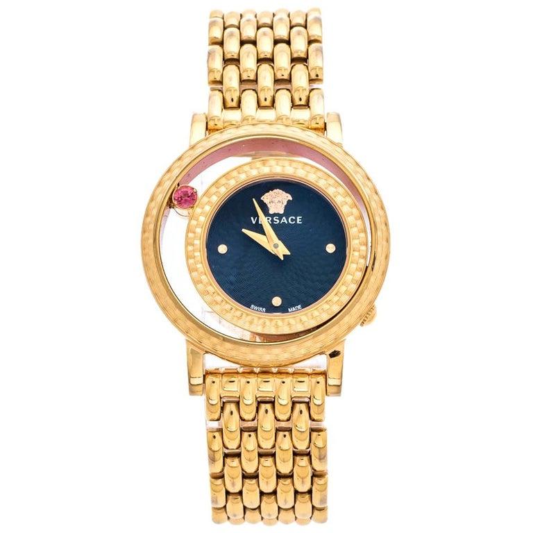 Versace Black Rose Gold Plated Venus VDA040014 Women's Wristwatch 33 mm For Sale