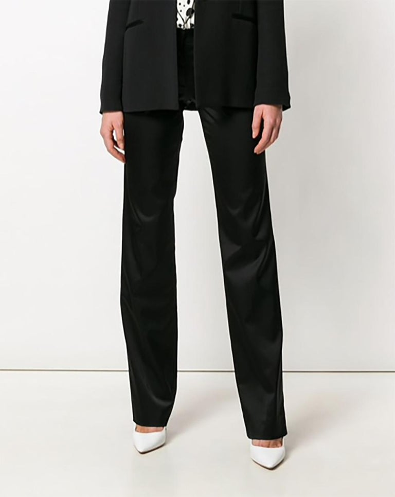 Versace Black Satin Flare Bootcut Trousers In Excellent Condition For Sale In Paris, FR