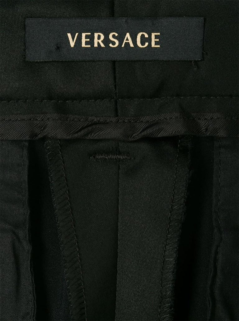 Versace Black Satin Flare Bootcut Trousers For Sale 1