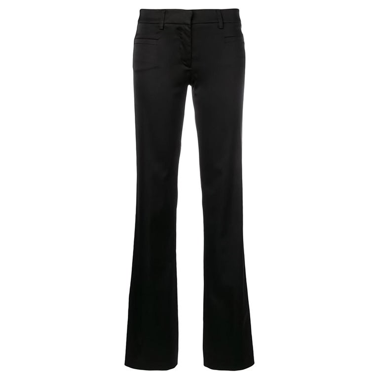 Versace Black Satin Flare Bootcut Trousers For Sale