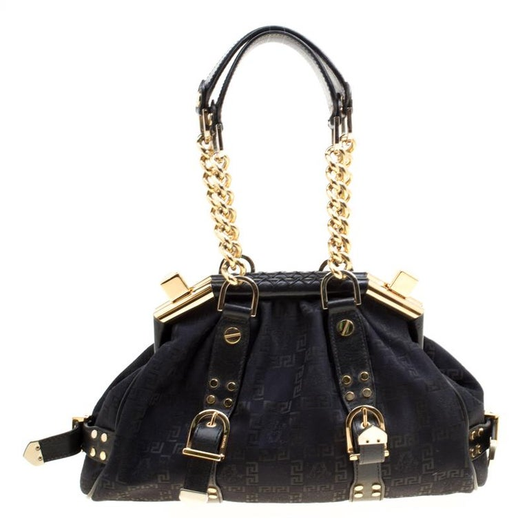 7f1cc8672d Versace Black Signature Fabric and Leather Madonna Boston Bag For Sale at  1stdibs