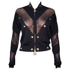 VERSACE BLACK STRETCHY GOLD-TONE MEDUSA HARDWARE ZIP-UP Jacket 42 - 6