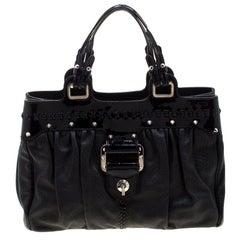 Versace Black Stud Leather Tote