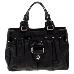 Versace Black Stud Leather Tote
