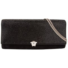 Versace Black Suede Crystal Embellished Clutch Evening Bag w/ Silver Tone Chain