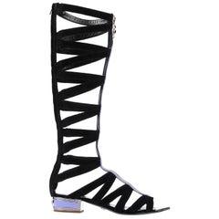 VERSACE Black Suede Knee Sandal Gladiator Boots