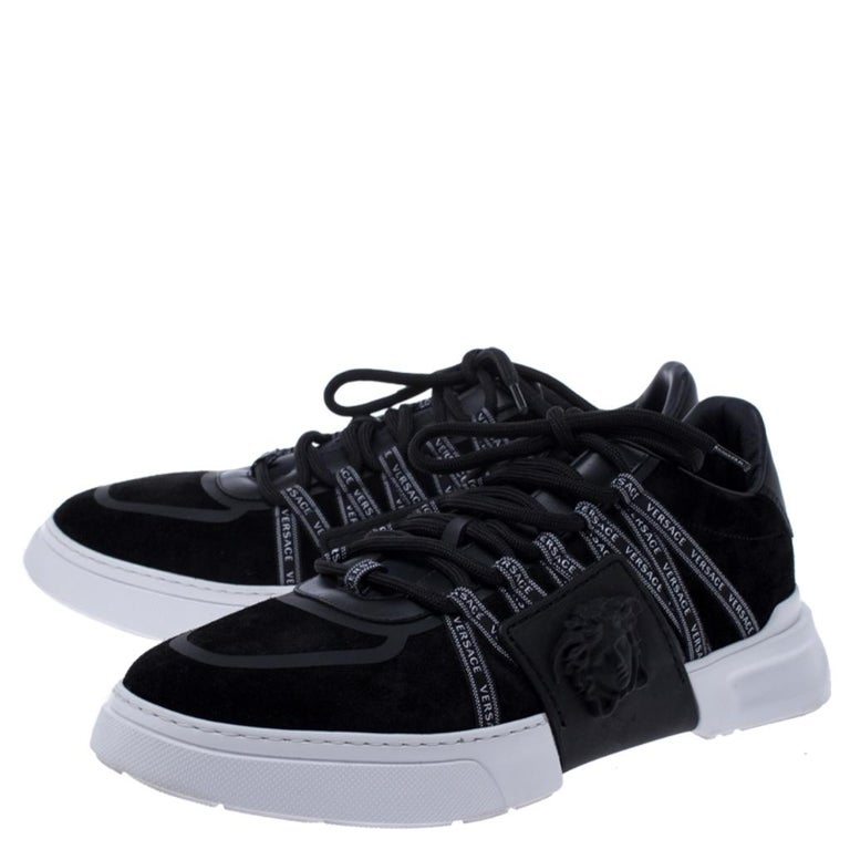 Men's Versace Black Suede Leather And Rubber Medusa Lace Up Sneakers Size 42.5 For Sale
