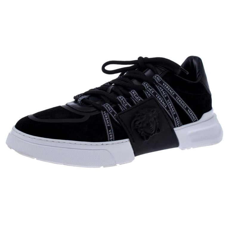 Versace Black Suede Leather And Rubber Medusa Lace Up Sneakers Size 42.5 For Sale