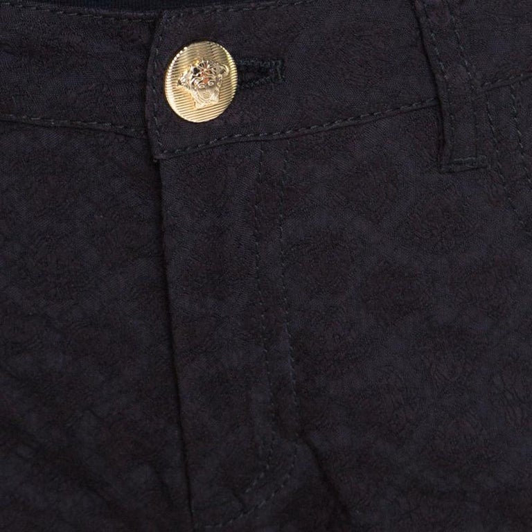 Women's Versace Black Textured Jacquard Skinny Pants S For Sale