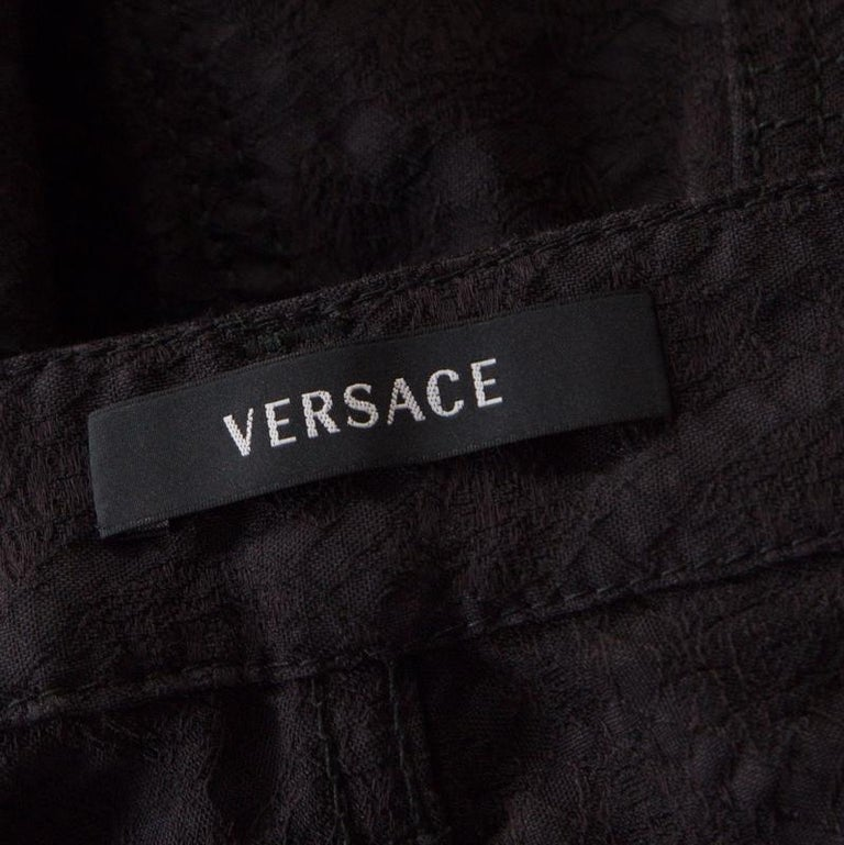 Versace Black Textured Jacquard Skinny Pants S For Sale 1