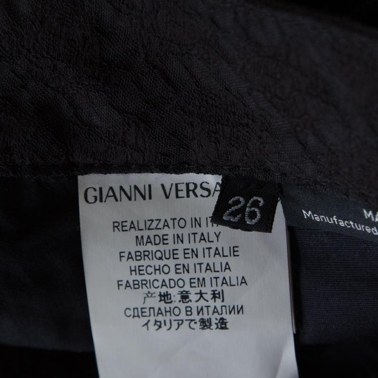 Versace Black Textured Jacquard Skinny Pants S For Sale 2