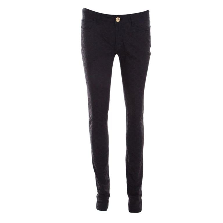 Versace Black Textured Jacquard Skinny Pants S For Sale