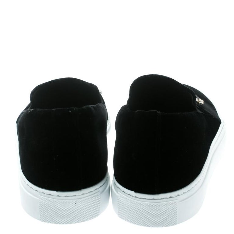 Men's Versace Black Velvet Crystal Embellished Corona Slip On Sneakers Size 40