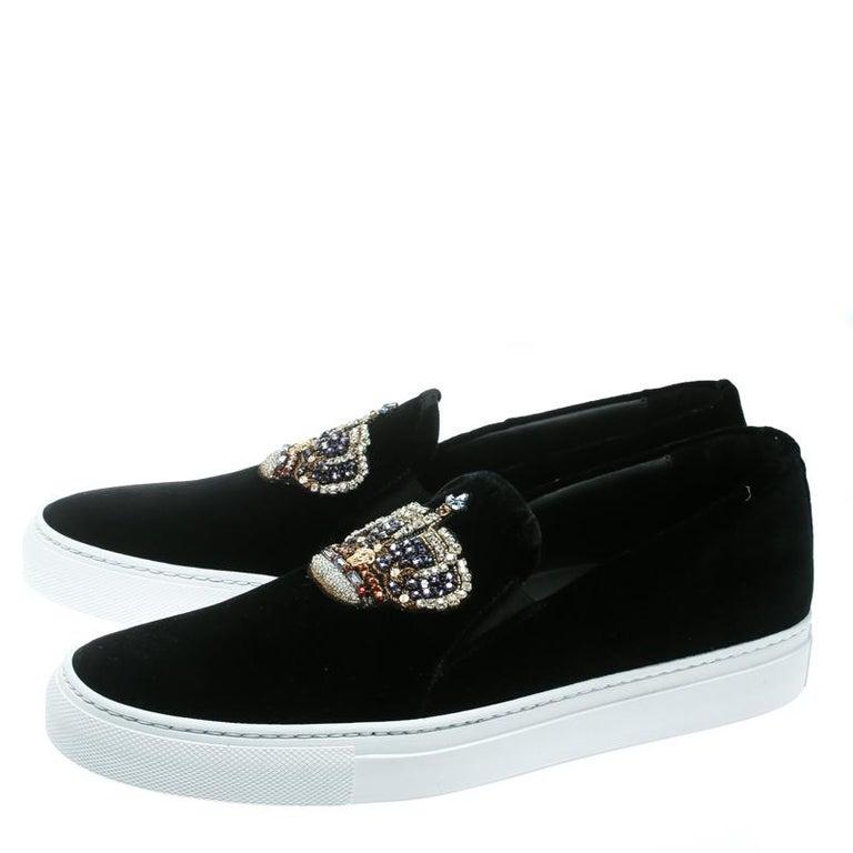 Versace Black Velvet Crystal Embellished Corona Slip On Sneakers Size 40 1