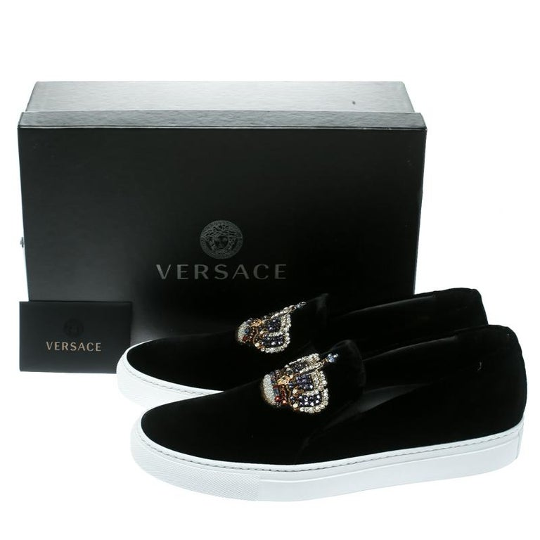 Versace Black Velvet Crystal Embellished Corona Slip On Sneakers Size 40 4