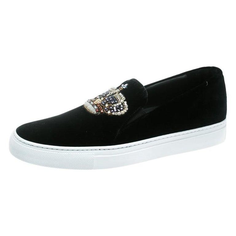 Versace Black Velvet Crystal Embellished Corona Slip On Sneakers Size 40