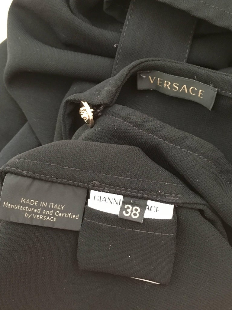 Versace Black Wool Long Sleeve Blouse Size 4. For Sale 6