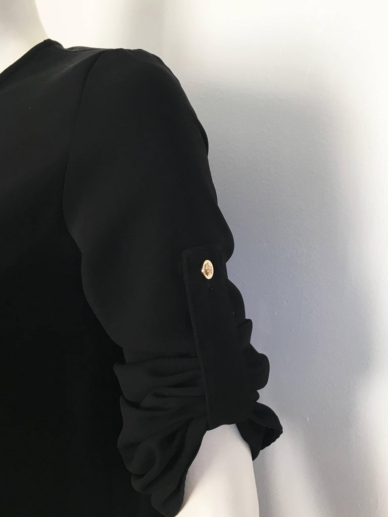 Versace Black Wool Long Sleeve Blouse Size 4. In Excellent Condition For Sale In Atlanta, GA