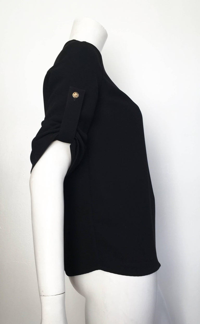 Versace Black Wool Long Sleeve Blouse Size 4. For Sale 1