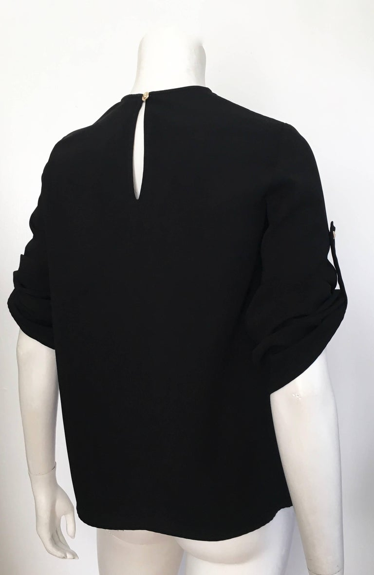 Versace Black Wool Long Sleeve Blouse Size 4. For Sale 2