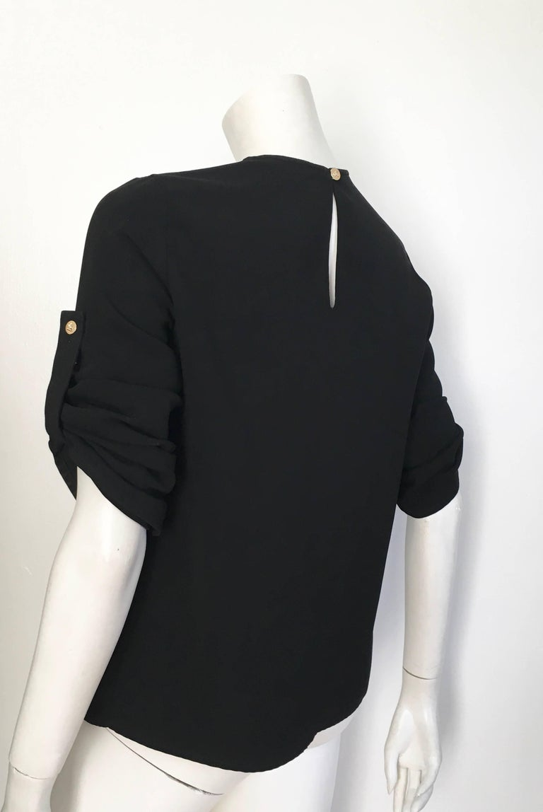 Versace Black Wool Long Sleeve Blouse Size 4. For Sale 4