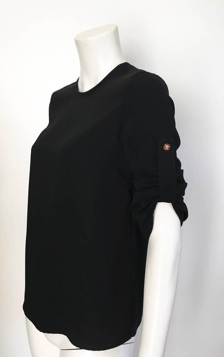 Versace Black Wool Long Sleeve Blouse Size 4. For Sale 5