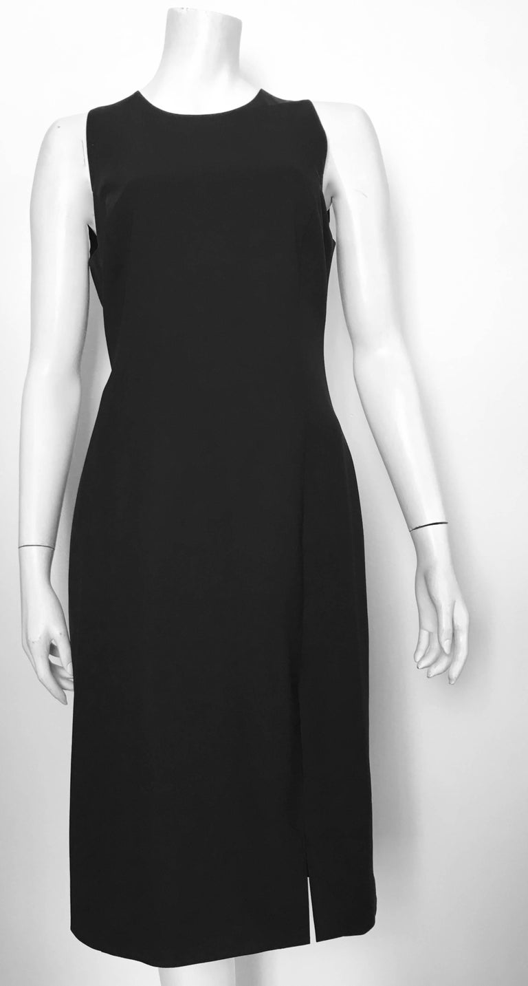 Versace Black Wool Sleeveless Sheath Dress Size 8 In Excellent Condition For Atlanta