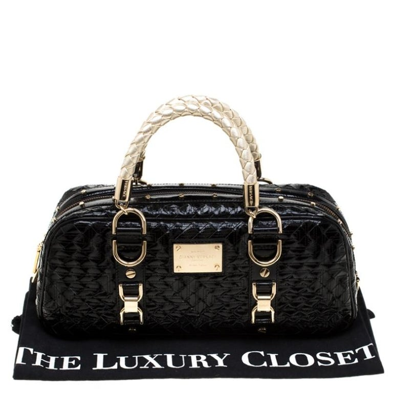 Versace Black Woven Patent Leather Snap Out Of It Satchel For Sale 7